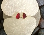 18k Gold, Red Sea Glass Studs