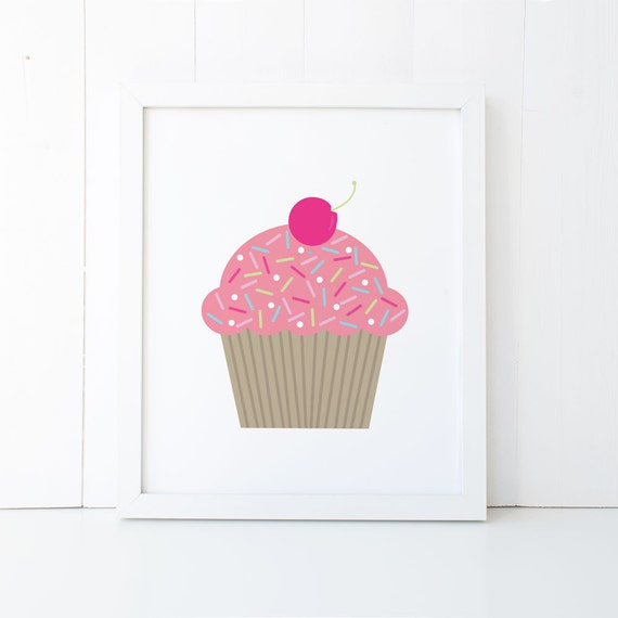 Wall Print 8 X 10 Girls Bedroom Wall Art Pink Cupcake