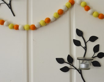 Felted Wool Ball Garland - Halloween Candy in 8 feet (orange, yellow and white) 1 inch balls HANGERS INCLUDED! Halloween Candy Corn Garland