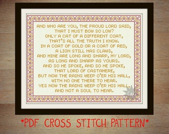 Game of Thrones Rains of Castamere lyrics counted cross stitch pattern