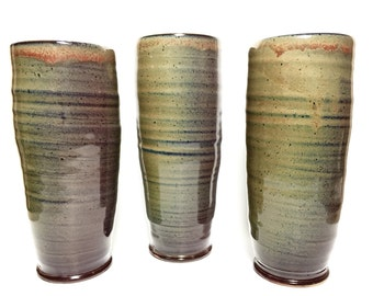Set of 3 Wheel-thrown Ceramic Tumblers !