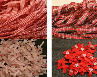 Vintage batch of woven trims gingham checks, red and pink , small sateen bows.
