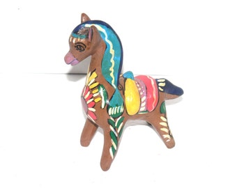 Vintage 1940 Vibrant Tlaquepaque Mexico Horse Bank, Mexican Art, Pottery, Antique Alchemy