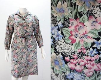 XXL Dress - Black Floral Dress - XXL 1970s Dress