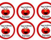 24 - Elmo Printed Labels, Elmo Bag Tags, Elmo Stickers