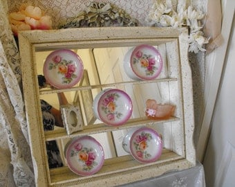 Large Shadowbox/Curio cabinet/Wall storage - RETRO - Kitsch - Mid Century - Shabby Chic - Mirrored wall cabinet - Shabby Chic storage