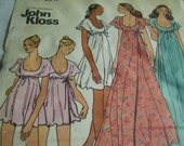 Vintage 1970's Butterick 3408 John Kloss Baby Doll Gown and Robe Sewing Pattern, Size 10, Bust 32 1/2
