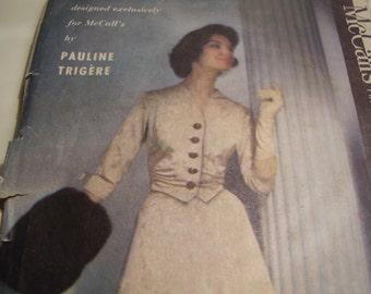 SALE  Vintage 1950's McCall's 4255 Pauline Trigere Dress Suit Sewing Pattern, Size 16, Bust 36