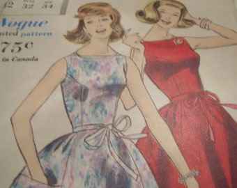 Vintage 1960s Vogue 5130 Wrapped Back Dress and Petticoat Sewing Pattern, Size 12, Bust 32