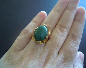 Malachite Gold Ring Vintage