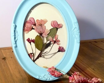 Pink Blossoms Pressed Flower Art in an Aqua Frame