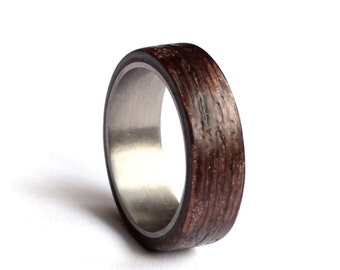 stainless steel wedding ring mens wedding band wood mens ring wenge wood wedding - Wedding Band Rings