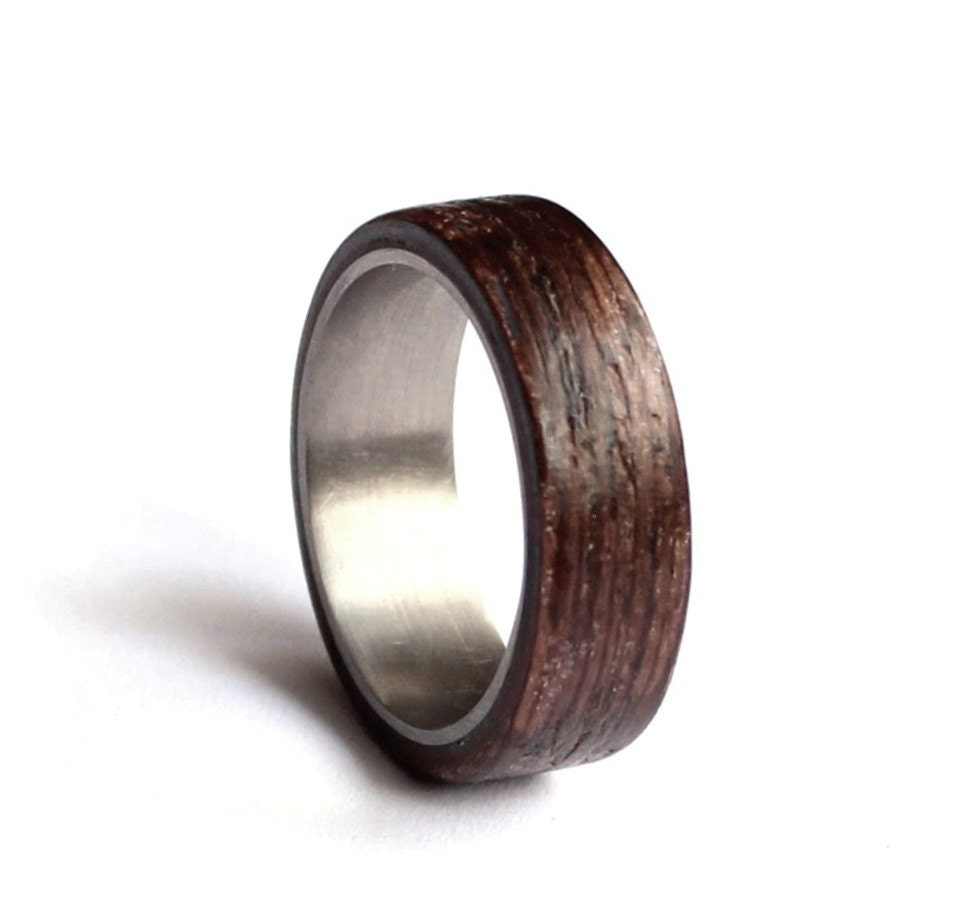 Stainless Steel Wedding Ring Mens Wedding Band Wood Mens