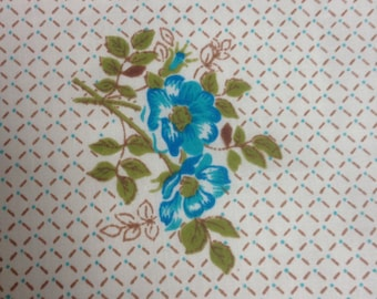 Vintage single flat sheet - blue rose design