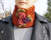 Orange Rose scarf, with pink, purple, orange roses, orange cowl scarf, hand painted merino wool, READY to SHIP.