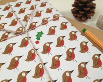 Robin & Holly Wrapping Paper, Gift Tags And Stickers, Xmas Wrapping Paper, Robin Gift Wrap Set, Christmas Wrapping Paper, Holly, Robin