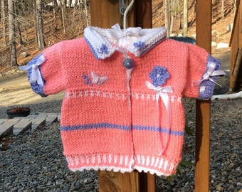 Candy Pink Baby Short Puffed Sleeve Cardigan Sweater