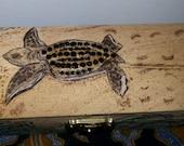 Leatherback Sea Turtle Pyrographic trinket box