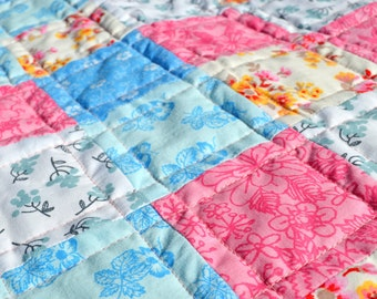 Pretty Florals Patchwork Baby Quilt - Perfect Shower Gift!