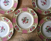RESERVED for KIMBER ~ Crown Ducal Ware England, Set of Six Hand Painted China Dinner Plates, Antique Dinnerware, 1920's Pink Floral