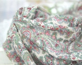 "Paisley Cotton Double Gauze Fabric - Green & Indi Pink - 58"" Wide - By the Yard 83623"
