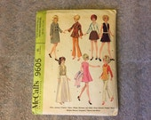 1968 Original Vintage BARBIE Doll Clothing Patterns McCall's Sewing Pattern #9605