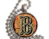 """Letter """"B"""" Art Pendant, Alphabet Resin Pendant, Vintage Initial  Photo, Silver Nickel Coin Charm Necklace"""