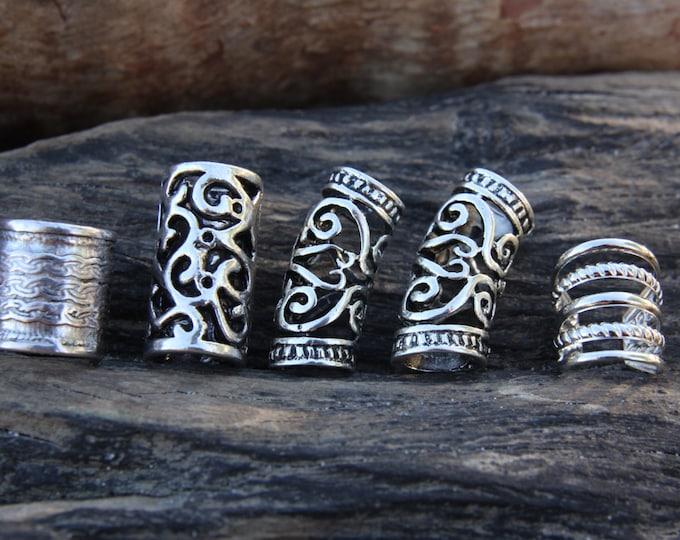 10 Mixed Silver Dreadlock Beads 7mm-10mm Hole (9/32' - 3/8') Hair Beads