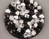 4 size! Crystal rocks CRYSTAL CAL+JET on black Swarovski 15mm 20mm 25mm 30mm
