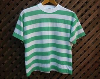 Vintage 90s White Green Striped Boxy T Shirt by ESPRIT Medium