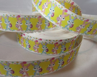 "Easter Bunny grosgrain Ribbon, Easter craft supplies 1"" Ribbon by the yard, RN14844"