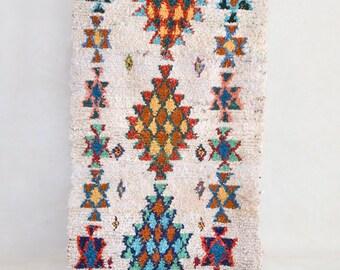 "FIREWORKS 7'6"" x 3' Boucherouite Rug. Tapis Moroccan Berber. Mid Century Modern Design Compliment. P48"