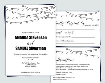 Wedding Invitation Template   String lights   Summer lights   DIY Printable Instant Download   PDF editable text