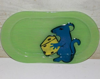 Jan Mitchell Serving Platter - Mouse & Cheese - Art - Green - Vintage - Home Decor - Platter- Snack Tray - Collectibles -Cheese and Crackers