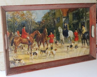 """Fox Hunt Scene Wooden Tray with Handles and Glass - Vintage - 22"""" X 14"""" - Collectibles - Home Decor - Horses - Hounds -Bed Tray -Equestrian"""