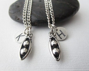 2 Peas in a Pod, Initial Best Friends Necklaces (Set)