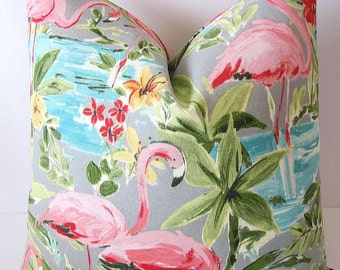 Pink Flamingo Pillows, Retro Pillow Cover, Vintage Pillows, Tropical Pillow Cover, Rockabilly Pillow, Vintage Camping, Hawaiian Pillow Cover