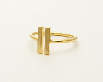 Parallel Bar Ring, Double Bar Ring, Gold Ring
