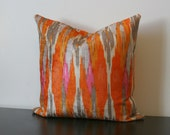 Decorative Throw Pillow Cover, Iman Orange Velvet Ikat Decorative Pillow Cover, Toss Pillow, Sofa Pillow, Accent Pillow, Bedroom Pillow