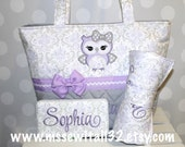 XL Quilted Owl Applique Gray / Lavender Damask Diaper Bag Set - Wipes Case - Changing Pad with Roll Up Snap Closure