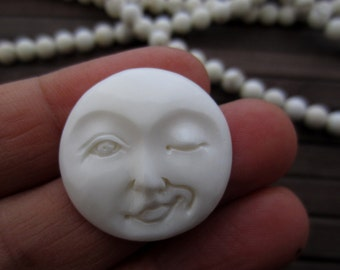 Winking moon face, 25 mm  Cabochon , flat back, Jewelry making Supplies B5920