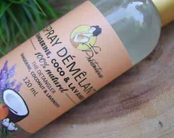 All natural Tangerine, coconut and lavender detangling spray 120 ml -Little girl's mother salvation