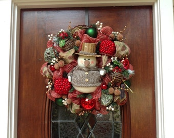 Rustic Snowman Holiday Wreath