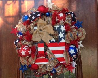 Patriotic Letter Wreath