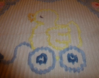 Vintage Chenille Baby Blanket with Plush Yellow Duck in Wagon