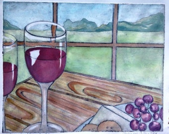 Saturday Afternoon- wine glasses with a view of a Vinyard. Collagraph print with hand-colored watercolor. Dining room, home decor, kitchen
