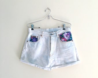 Vintage Calvin Klein Bleached Light Blue High Waisted Jean Shorts with Floral Pocket Detail /Almost White Denim Cutoff Shorts / 90s