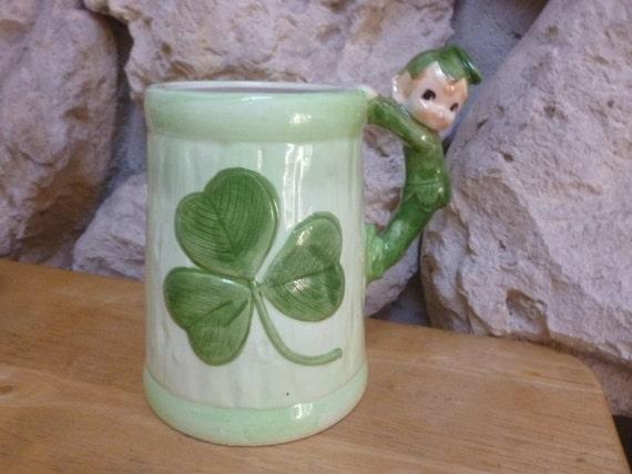 Lefton Clover and Pixie Elf mug