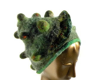 Green Felt Hat - Woodland Wizard Hat - Fantasy Feel of Bark Lichen and Moss - Lush Wearable ArtHat for Unique Self Expression - Forest Hat