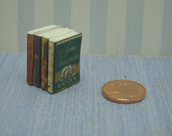 NEW Pile four shabby chic decorative books library accessories 1:12 Scale Or 1/6 Scale Dollhouse Miniature playscale vintage books magazine